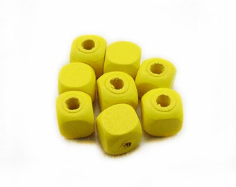 Yellow Wood Beads, Yellow Wooden Beads, Cube Wood Beads, 12mm Wooden Beads, Cube Beads, Wooden Beads, Jewelry Making, Craft Supplies