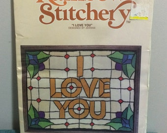 1978 Crewel Embroidery Kit ~ I Love You Stained Glass Window