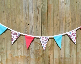 4m Bunting, pink, turquoize, floral