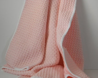 Pink Crocheted Baby Blanket With White Border
