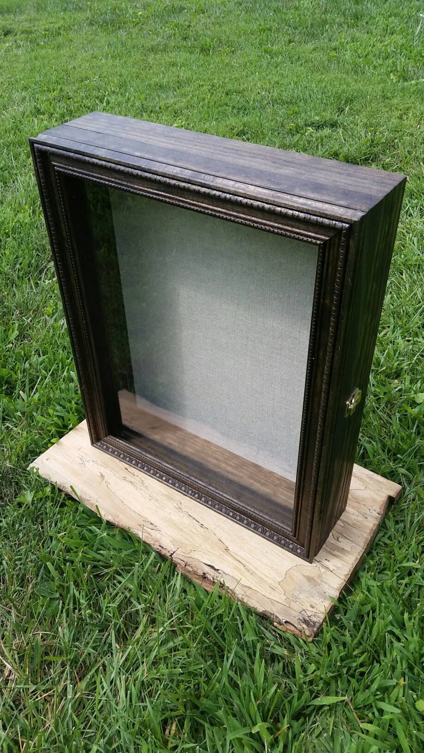 Extra Large Size Wooden Shadow Box Display Case With Hinged