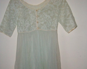 Womens Blue Lace Nightgown/Robe