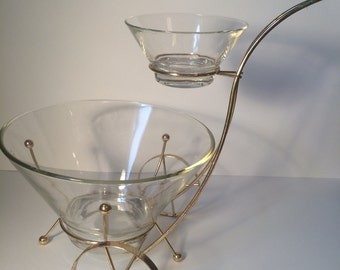 Mid Century Chip and Dip Bowl Set