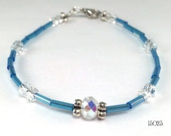 Delicate sky blue and clear crystal stacking friendship bracelet