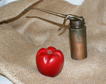 Vintage Copper Can, automotive oil can,  hand pump oil can,  trigger, steampunk canister, industrial grunge decor, squeeze oil can