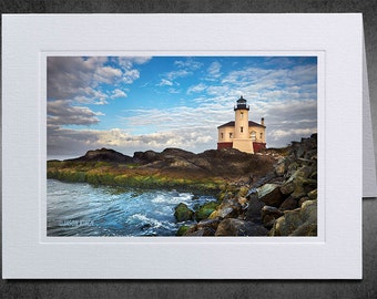 Photography Notecard, Coquille River Light, Parting Clouds, Photo Greeting Card, Custom Notecard, Photo Notecard, Lighthouse, Bandon Oregon