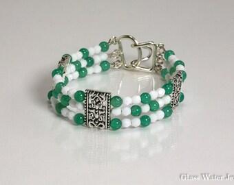 3 strand, Silver Pewter, Green & White Bracelet