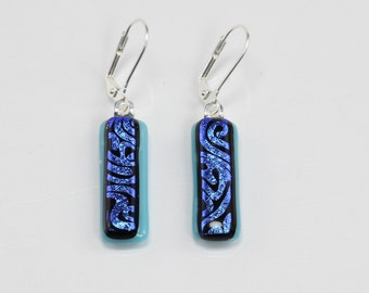 Fused Glass Earrings, Glass Earrings, Blue, Black & Metallic Earrings