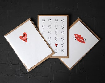 Pack Of 3 Love Cards - Anniversary Card - Birthday Card - Love Card - Note Card - Blank Card - Cards