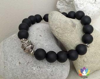 Bracelet matte onyx and Bali silver beads.