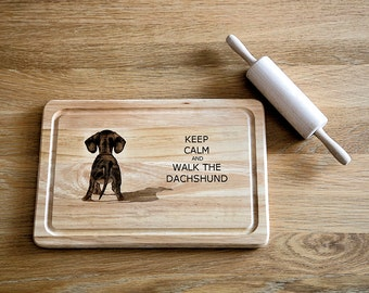 Dachshund Chopping Board, Cutting Board Wooden and Laser Engraved