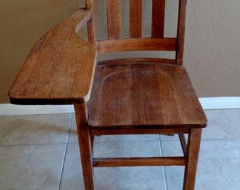 Antique Wooden School Chair