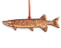 Muskie Muskellunge Birdthday Gift for Fisherman Fish Ornament made from Solid Black Cherry Wood