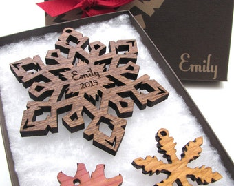 Personalized Christmas Ornament Wood Snowflake from Nestled Pines . Customize your Christmas