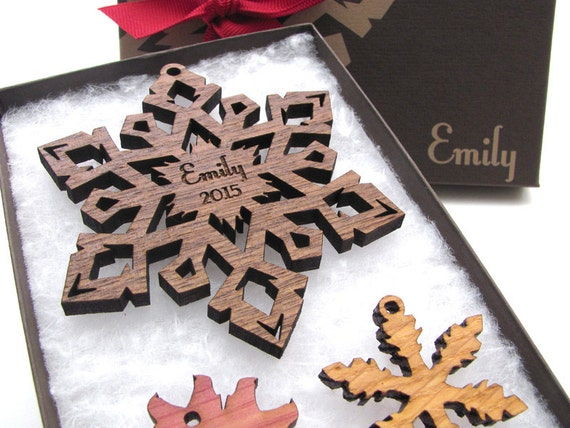 Personalized Christmas Ornament Wood Snowflake from Nestled Pines