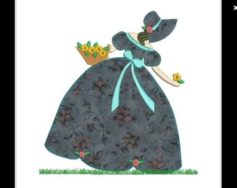 "APPLIQUE Victorian lady machine embroidery download 3 DIFFERENT SIZES (8X8  7X7  6X6 "")"