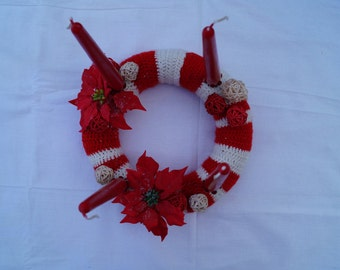 Christmas wreath Advent wreath crochet handmade holiday home decor Christmas flowers wooden balls gift red white stripes with candle