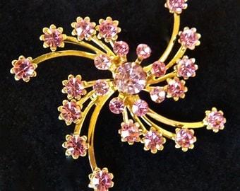 ART DECO VINTAGE Brooch with Pink Rhinestones Gold Tone Brooch Vintage Crystal Brooch Flower Brooch