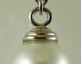 South Sea 12.9mm x 11.1mm White Pearl Pendant 14k White Gold 1 Inches