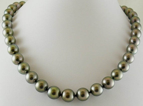 Tahitian Black 11.9mm x 11.7mm - 10mm x 9mm Semi-Round Pearl Necklace 14k White Gold