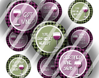 Digital Bottle Cap Collage Sheet - Wine Sayings - 1 Inch Circles Digital Images for Bottlecaps