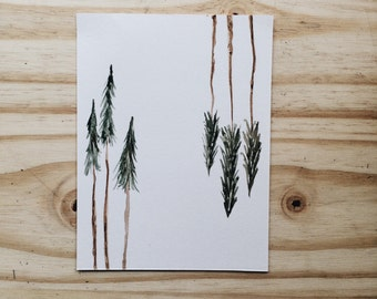 Hand Painted Watercolor Evergreen Pine Tree Minimal Art Mini Print