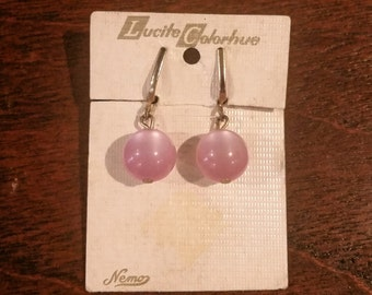 Lucite Colorhue Pink Screwback Earrings