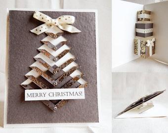 Christmas handmade card - Gold Christmas Tree -Pop Up Gifts inside.