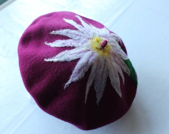 Pure New Wool Dark Cerise Beret With Large Daisy Flower