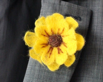 Yellow  Daisy Felted Flower Brooch