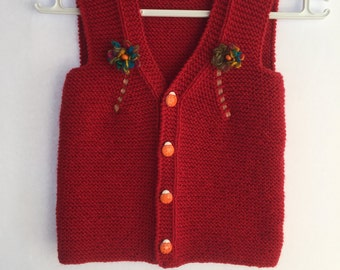 Baby vest red , baby dress, knitted baby dress, baby dress, baby clothes, baby shower gift, hand knit baby dress,