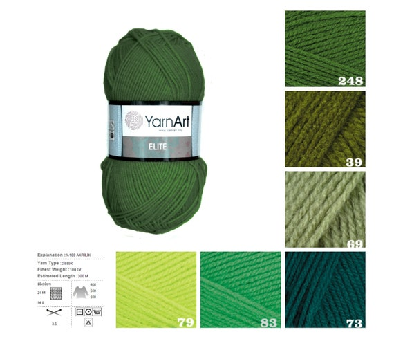YarnArt ELITE green pattern yarn, knit acrylic yarn, crochet acrylic yarn, kn...