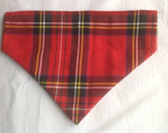 Handmade Royal Stewart Tartan Dog Bandana/Neckerchief/Scarf - Slide on Collar - Various Sizes