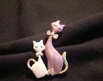 Vintage purple and white kitty kat pin