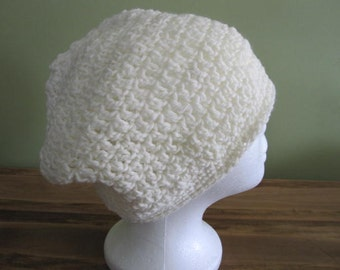 "Handmade slouch crochet  ""HAT"" ,off white"