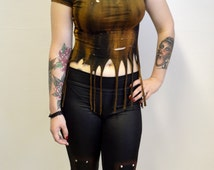 Leather Look Cross Leggings - Hand painted, crucifix, gothic, rock n roll, metal, occult, silver studs