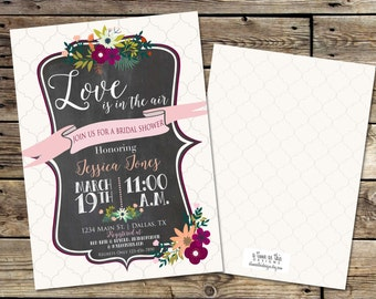 SPRING BRIDAL SHOWER Invitaiton, floral spring chalkboard bridal shower