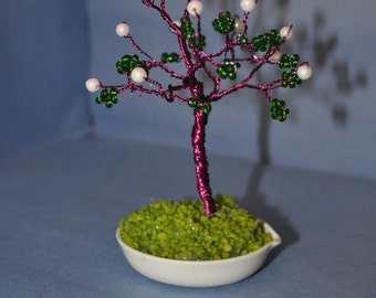 Wire Tree Sculpture,  Green & White Beaded Wire Tree Sculpture