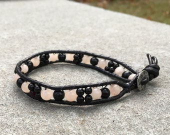 6mm Black and Rose Bead Leather Single Wrap Bracelet