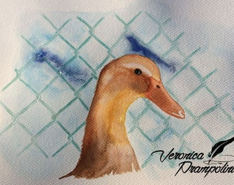Inside the fence-duck watercolor painted A4 cardstock Fabriano gr. 300