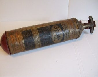 1940's Vintage Pyrene Commercial Vehicle Fire Extinguisher with Rare Mounting Bracket