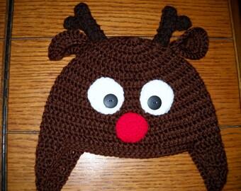 Crocheted childs Rudolf hat