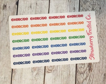 Exercise Planner Stickers Bold Colors- Made to fit Vertical Layout