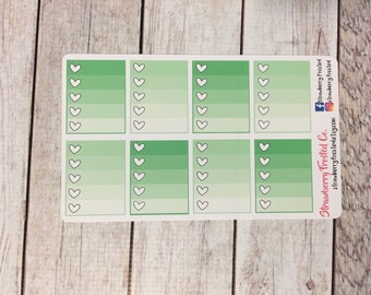 Minty Monthly Ombre Checklist Planner Stickers   Horizontals