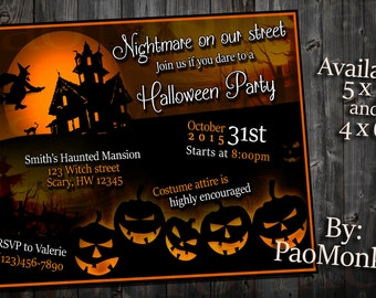 Halloween Party Printable Digital Scary Invitation