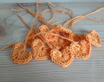 Orange Crochet hearts - Crochet flowers - Crochet applique hearts - Crochet appliqué flowers - Scrapbooking hearts