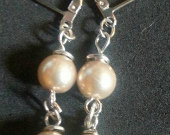 Glass pearl drop earrings