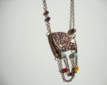 ethnic necklace copper and semiprecious beads