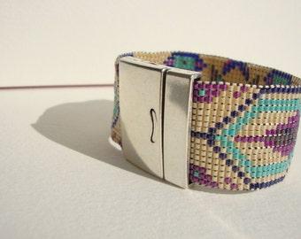 woven cuff chic bohemian mauve, cream turquoise bracelet
