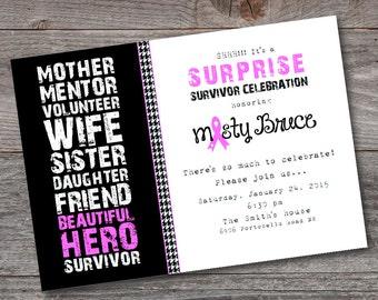 Breast Cancer Survivor Party Invitation, PRINTABLE, CUSTOM, Breast Cancer themed invitation, Breast Cancer, Invitation, Survivor, Pink,